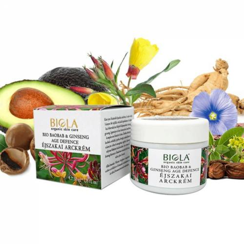 Biola bio baobab & ginseng age defence éjszakai arckrém 50 ml.