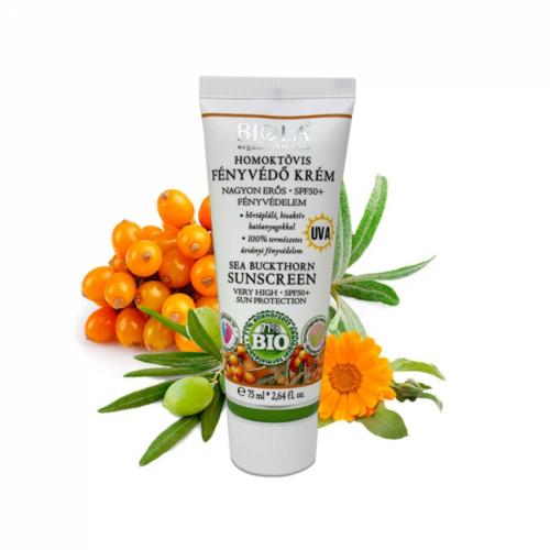 Biola bio homoktövis fényvédőkrém SPF50 75 ml. sötét