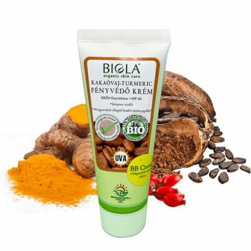 Biola bio kakaóvaj turmeric fényvédő krém sötét SPF40 75 ml.