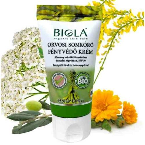 Biola bio orvosi somkóró fényvédő krém világos SPF10 50 ml