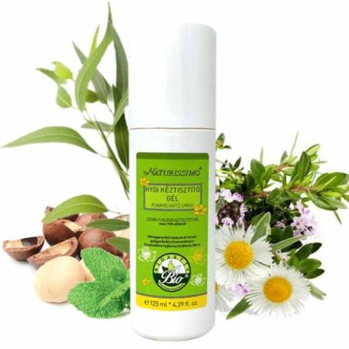 Biola naturissimo hygi kéztisztító gél pumpálható spray 125 ml.