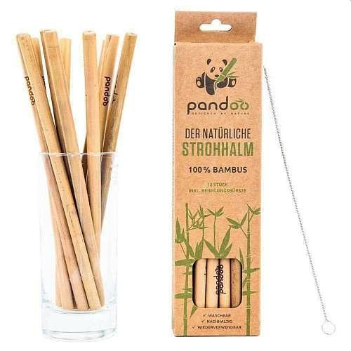 Pandoo újrahasználható bambusz szívószál tisztítókefével 12 db.